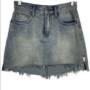 One Teaspoon 2020 Frayed Hem Denim Mini Skirt